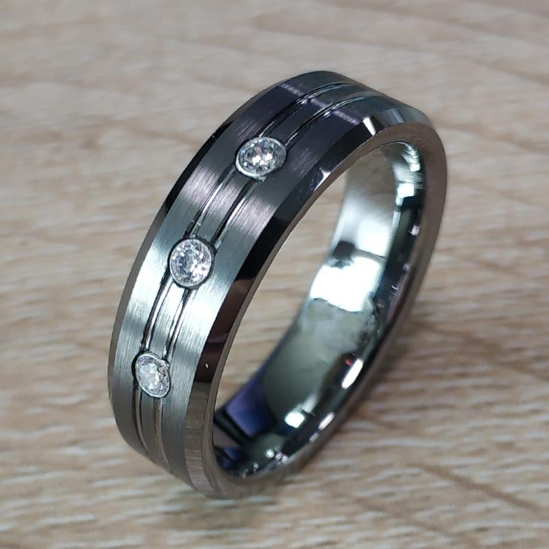 Tungsten Ring /& Ceramic CZ Stone Wedding Band 7mm