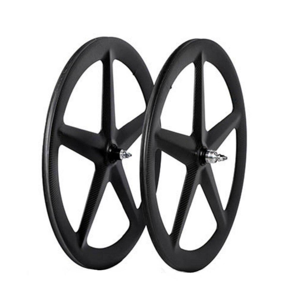 2018 MIRACLE 5 rayons roue tubulaire en carbone roue de route 700c roue de piste cinq rayons route/Triathlon/piste/vélo à engrenages fixes