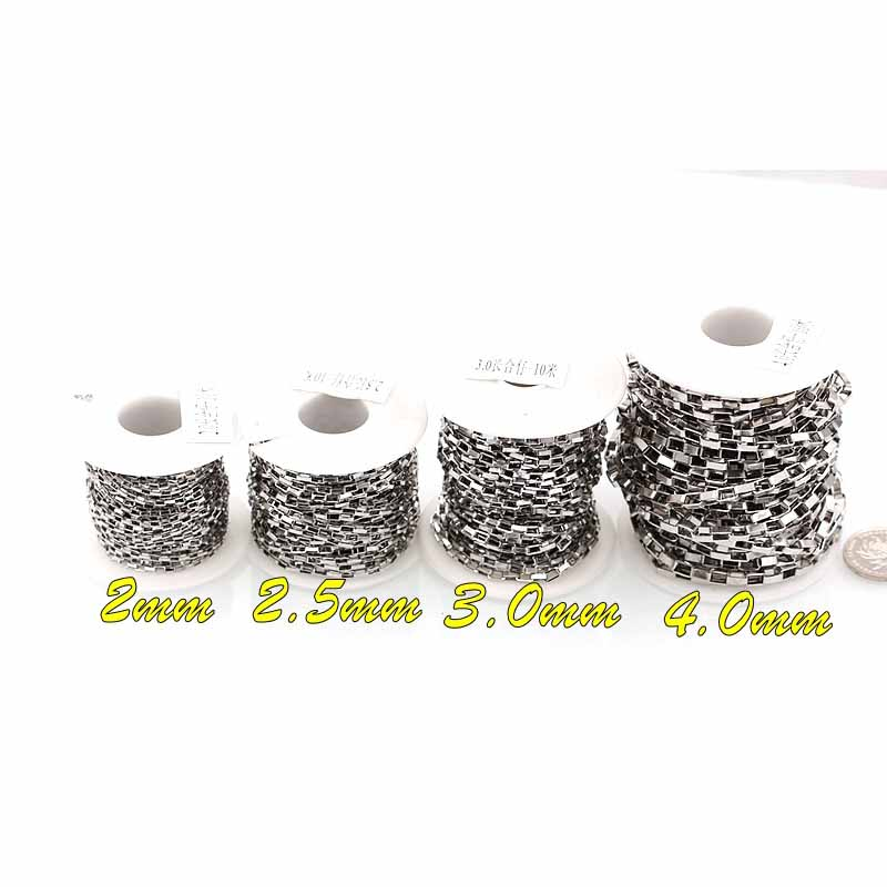 10 Yards/roll 304 Stainless Steel Chain Roll 2 3 4 5 6MM Hypoallergenic Box Chain Bulk Lot For Men's Necklace Jewelry Findings
