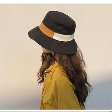 2019 New Bucket Hats For Women Summer Sunscreen Contrast Stripes Visor Fisherman Hat Solid Color Girls Panama Style Caps