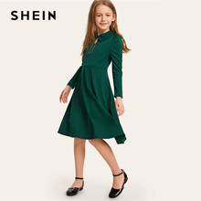 SHEIN Kiddie Solid Button Keyhole Front Casual Girls Dress 2019 Spring Puff Sleeve High Waist A Line Kids Party Dresses недорого