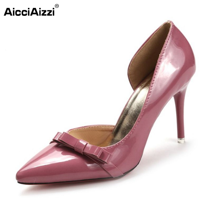 Female High Heels Shoes Women Pumps Thin Heeled Pointed Toe Patent Leather Bowknot Shoes Party Sexy Fashion Footwear Size 35-39