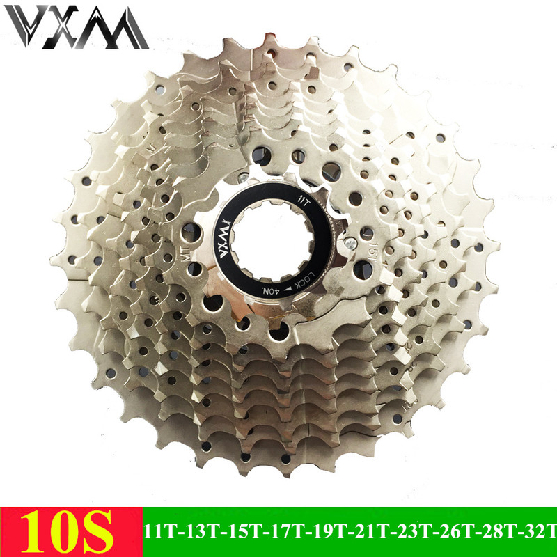 цены VXM Mountain Bicycle Freewheel 10 Speeds Flywheel 11-32T Teeth Crankset Gear MTB Cassette Alloy Steel 10S Flywheel Bicycle Parts
