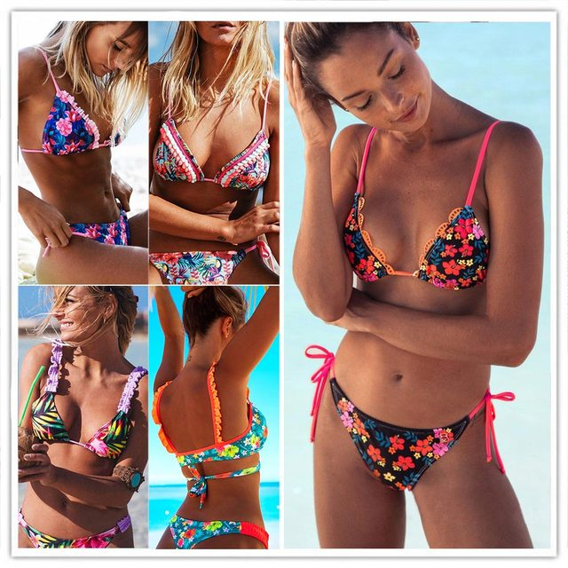 8cca217afb3 2019 Sexy Women Ruffle Bikini Set Cross Bandage Swimwear Female Floral Print  Swimsuit Vintage Summer Bathing