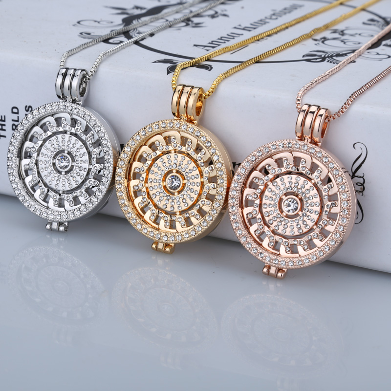 New rose gold interc hangeable necklace 35mm fashion necklace fit my 33mm coins crystal disc for frame pendant women gift