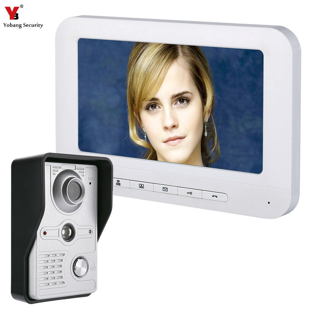 YobangSecurity Video Door Intercom 7 Inch Monitor Wired Video Doorbell Door Phone System 1-Camera 1-Monitor For Home Security jeatone 7 inch video door phone doorbell intercom with 600tvl outdoor camera ip65 on door video intercom security system 4 wired