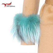 Raccoon fur Genuine Arm Warmer Lady Bracelet Real Wristband Glove Raccoon fur Cuffs X