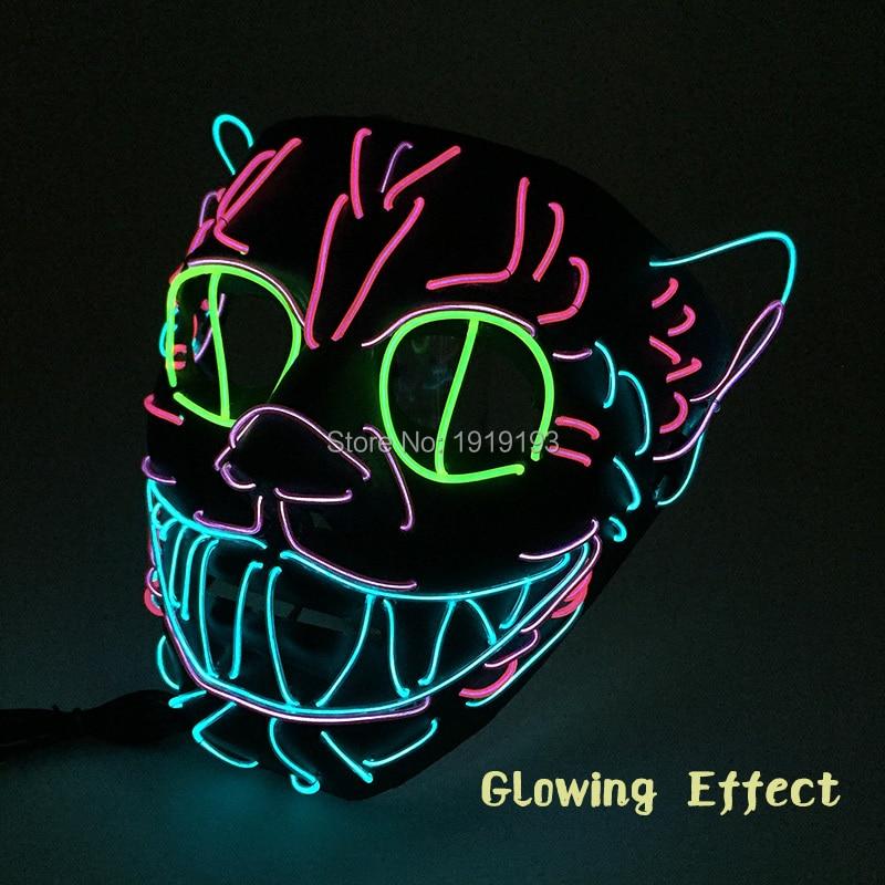 Halloween Party EL Wire LED Cosplay Glowing Cat Maske Mask Festiva Decoration