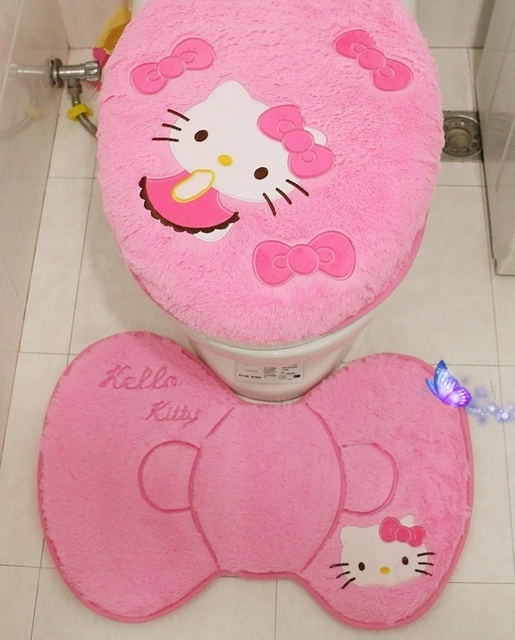Hello Kitty Soft Warm Fur Bathroom Carpet Set Toilet Seat Cover Set