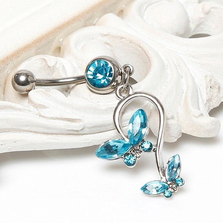 HTB14oEFIVXXXXc1XVXXq6xXFXXX7 Women's Beautiful Butterfly Body Piercing Jewelry Navel Belly Button Dangling Ring - 4 Colors