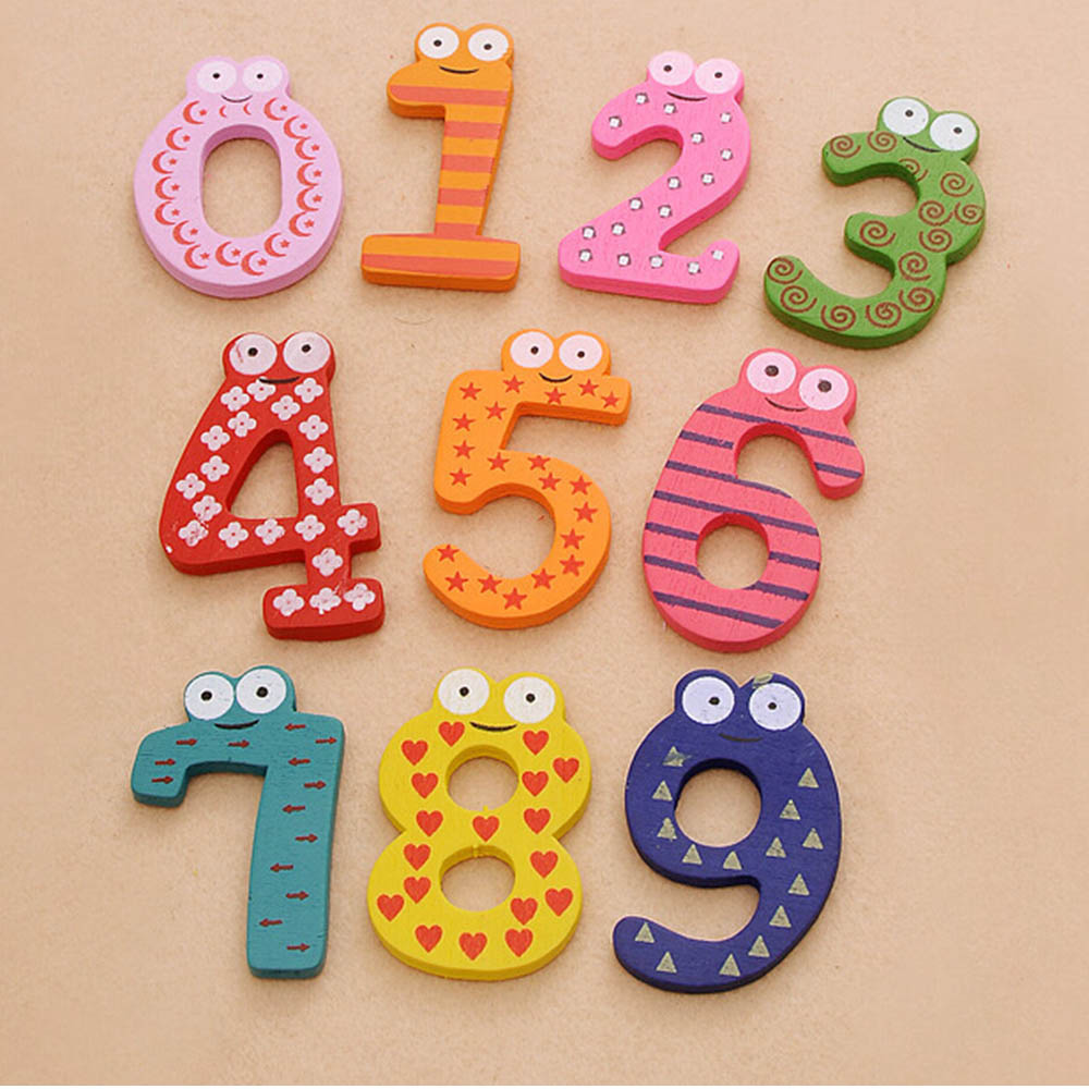 Magnetic Wooden 0-9 Numbers with Magnetic Wooden Number Math Set for Children Learning Education Preschool Home school gift