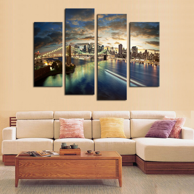 Canvas Painting 4 Pcs No Frame Tall Bridge Wall Art Picture Home