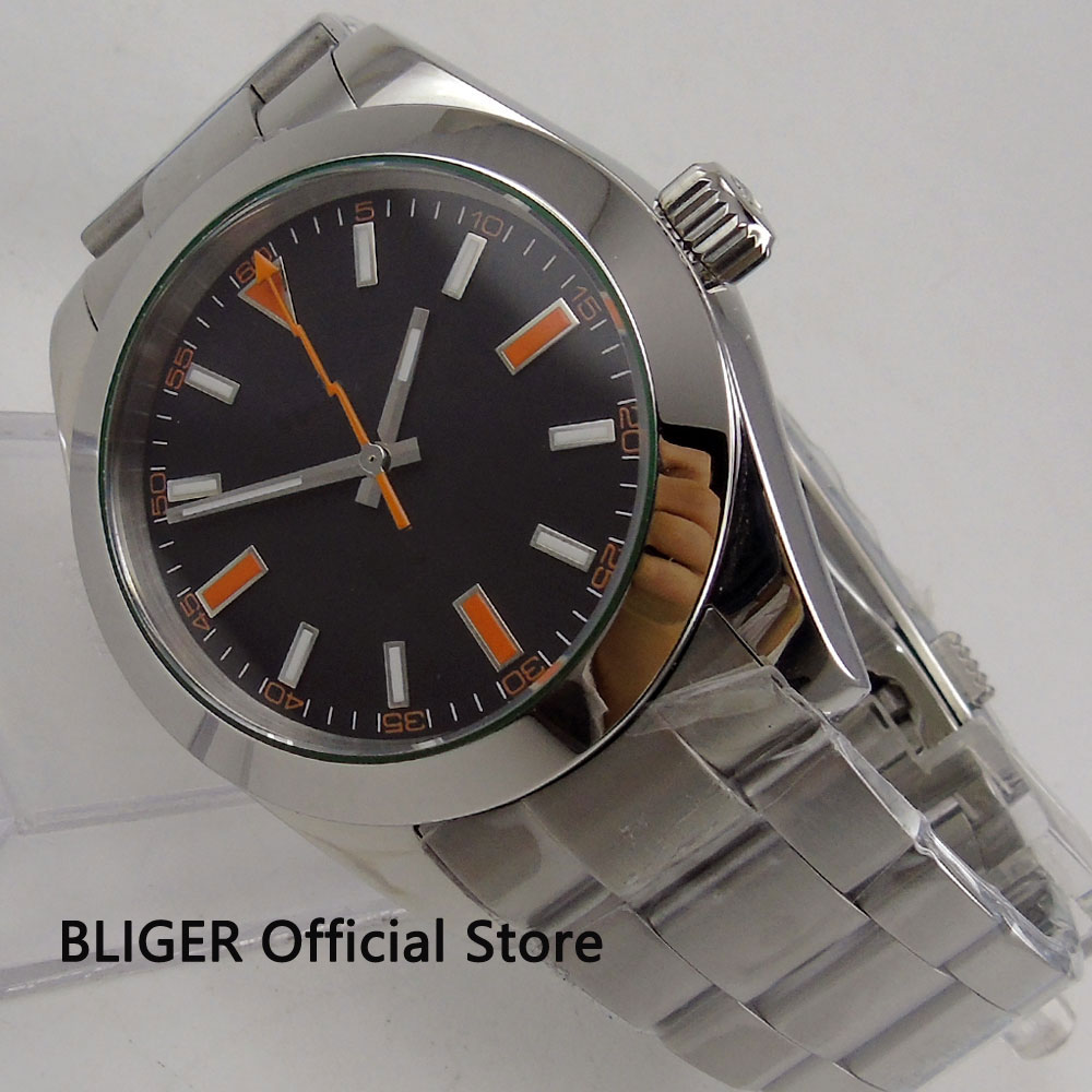 Fashionable 40MM BLIGER Sterile Black Dial Polished Bezel Automatic Men's Watch Flash Hands Orange Marks Luxury Watch Men W4 цена и фото