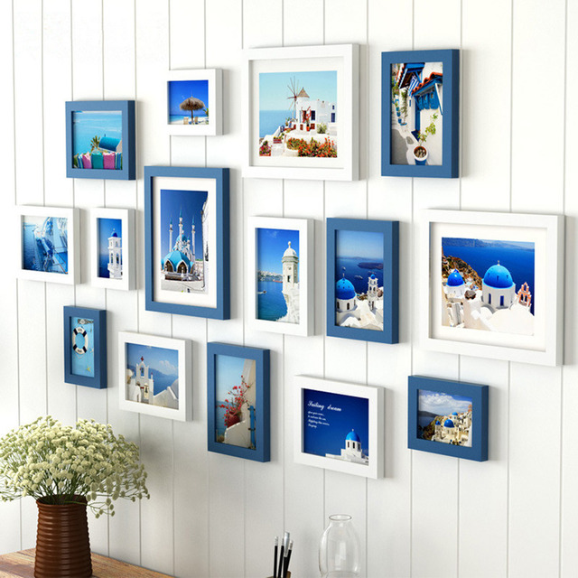 US $74 94 40% OFF|Ocean style creative living room photo wall photo frame  15 pcs/set picture frames for paintings wooden wedding picture frames-in