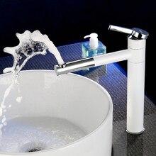 Роскошные Белые Окрашенные Латуни Смесители Для Ванной Бассейна Смесители одной ручкой 360 Поворотный Torneira Смесители Палуба Mounte 1138C