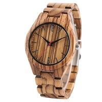 Полностью деревянные наручные часы с рисунком зебры  простые часы ручной работы из бамбукового дерева с застежкой  кварцевые часы  повседне...
