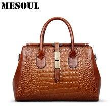 Designer Handbags High Quality 2016 Genuine Leather Crocodile Pattern Women Handbag Shoulder Bags Ladies Luxury Top-Handle Bags
