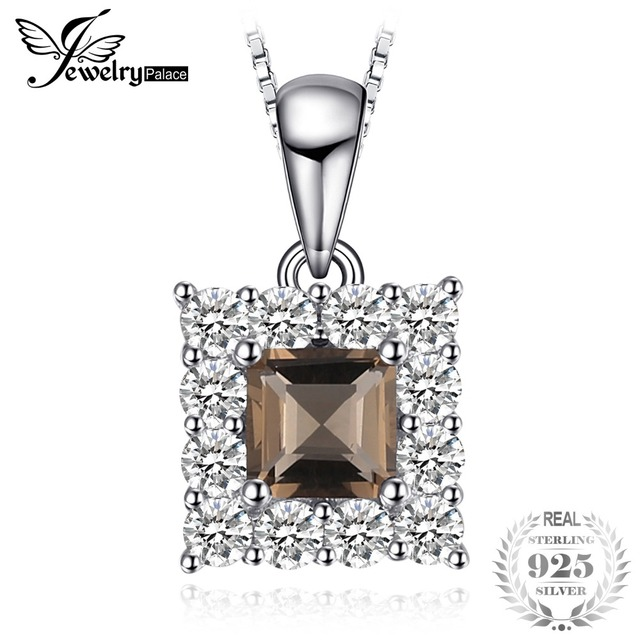 JewelryPalace Brand Classic 0.6ct Square-Cut Genuine Smoky Quartz Halo Long Neck
