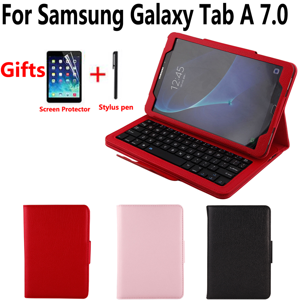 Detach Wireless Bluetooth Keyboard Case Cover for Samsung Galaxy Tab A/A6 7.0/7 2016 T280 T285 T285M with Screen Protector Film bluetooth keyboard for samsung galaxy note gt n8000 n8010 10 1 tablet pc wireless keyboard for tab a 9 7 sm t550 t555 p550 case