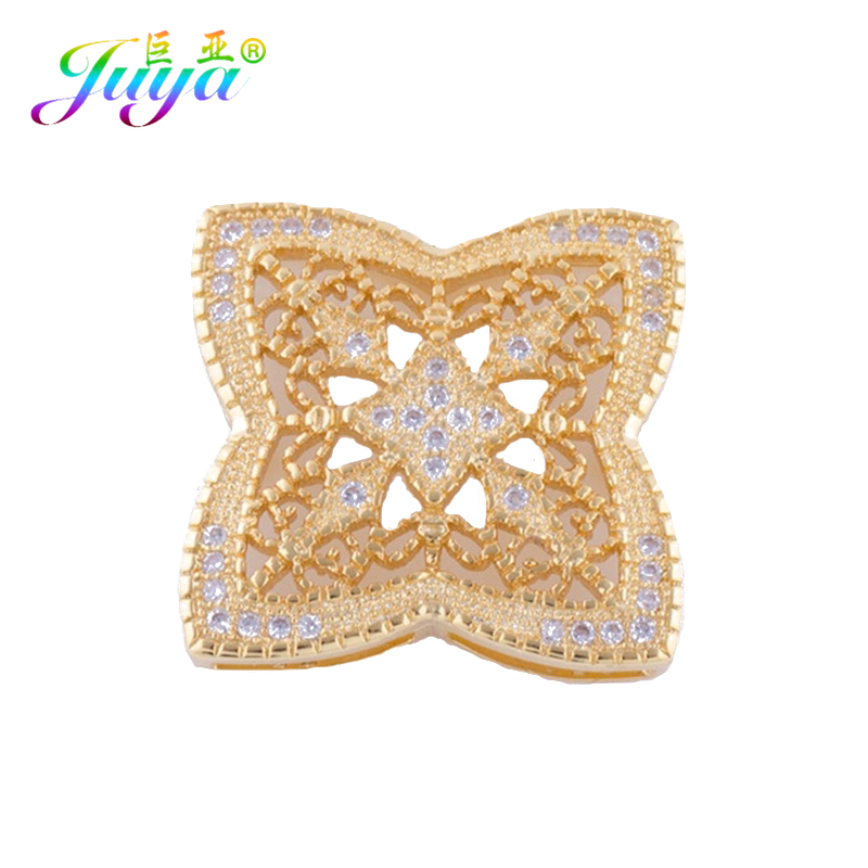 Juya Micro Pave Zircon Hollow Flower Square Connector Pendants Accessories For Women Fashion Pearls Jewelry Making Material