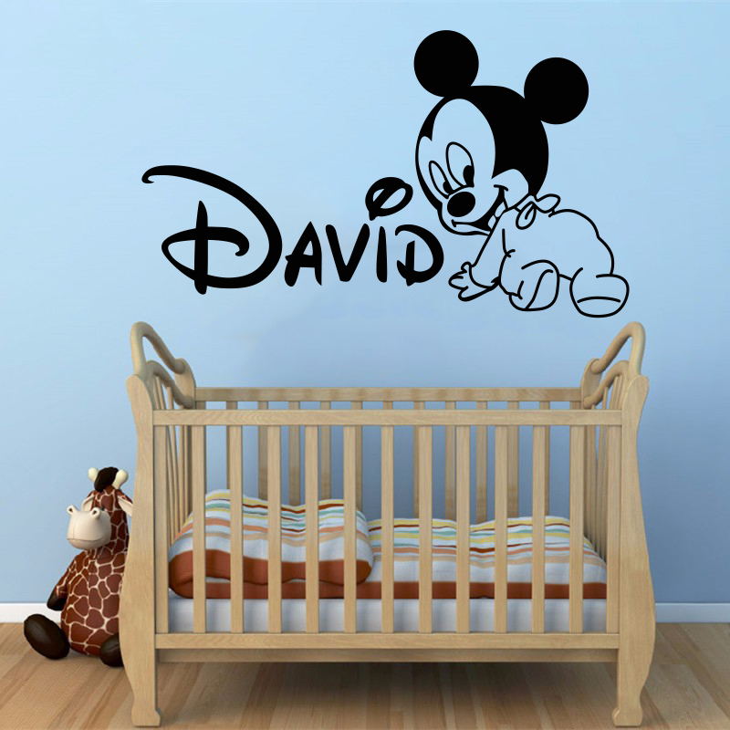 Creative new diy cute mickey mouse custom kids name baby for Decoration porte sticker