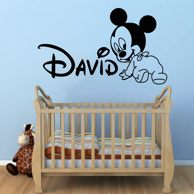 Creative New DIY cute Mickey Mouse Custom Kids Name baby wall stickers for kids rooms home decoration wall stickers #T134