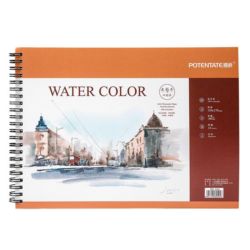POTENTATE A4 16 fogli 300g Artista acquerello carta da Spolvero Libro Per Olio Paiting Disegno Diario Notebook Creativo Regalo