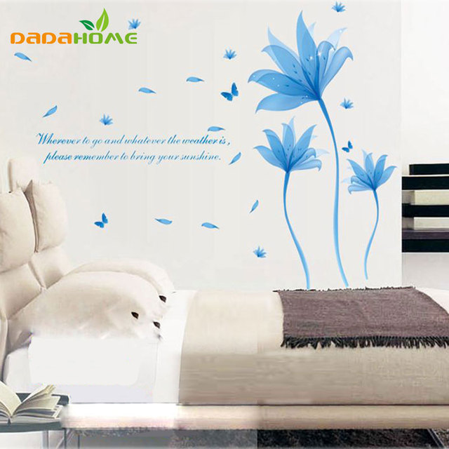 Removable Blue Flowers Wall Sticker Quotes PVC Bedroom Wall Stickers Home  Decor Bricolage Decoration Home Sticker