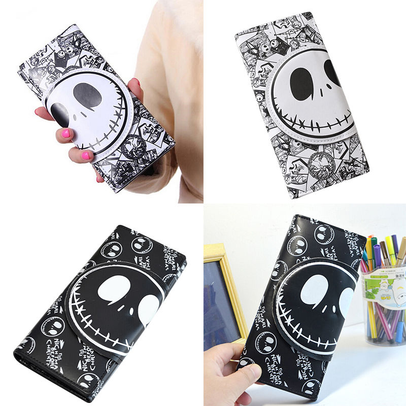 Comics Nightmare Before Christmas Wallets Unisex Thriller Movie Cartoon Jack Skull Purses PU Leather Clutch 18*8.5cm Long image