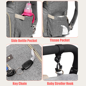 Image 5 - Diaper Bag USB Baby Nappy Bag Mummy Daddy Backpack Large Capacity Waterproof Casual Laptop Bag Rechargeable Holder for Bottle