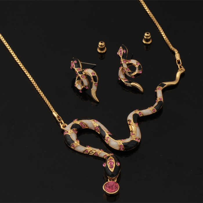 Collare ensembles de bijoux de serpent à la mode pour les femmes cadeau couleur or cristal mariage strass collier boucles d'oreilles ensembles en gros S637