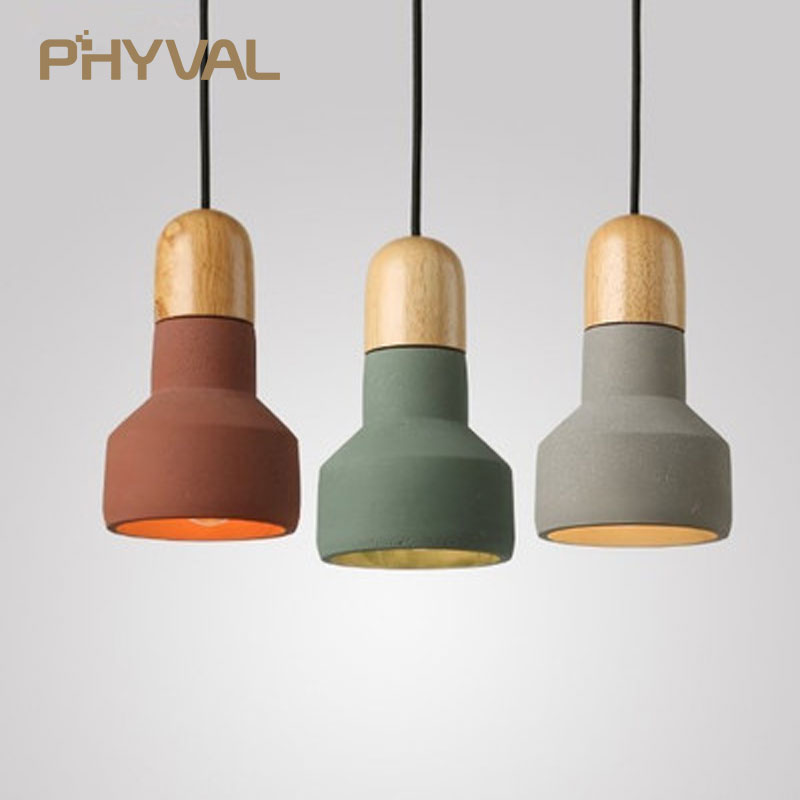 LED Pendant Lights Kitchen Lamp Nordic Wood Light Loft Cement Pendant Lamp E27 220V Dinning Room Home Decor Restaurant Lighting цена