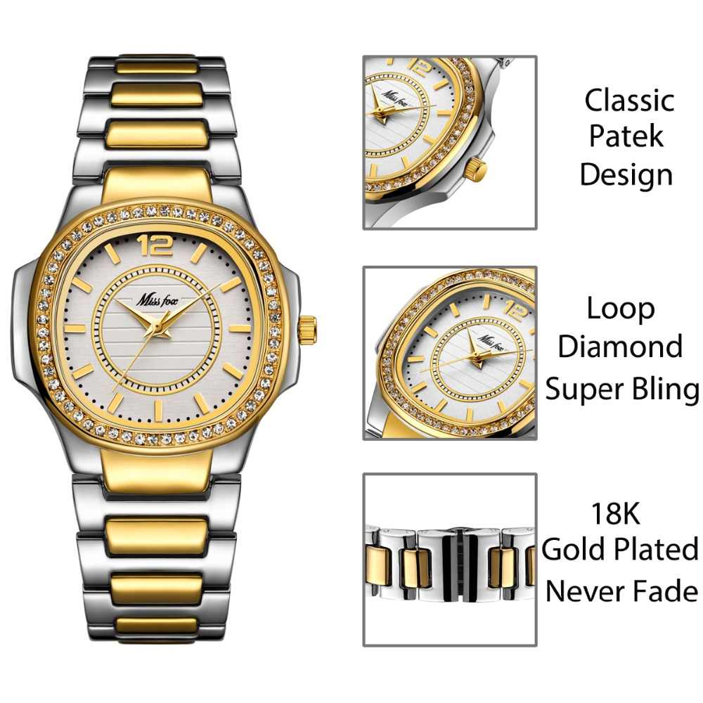 MISSFOX קוורץ שעון נשים יוקרה מותג יהלומים אנלוגי פטק גבירותיי שעונים מים עמיד 18K זהב שעון שעה עבור נשים מתנה