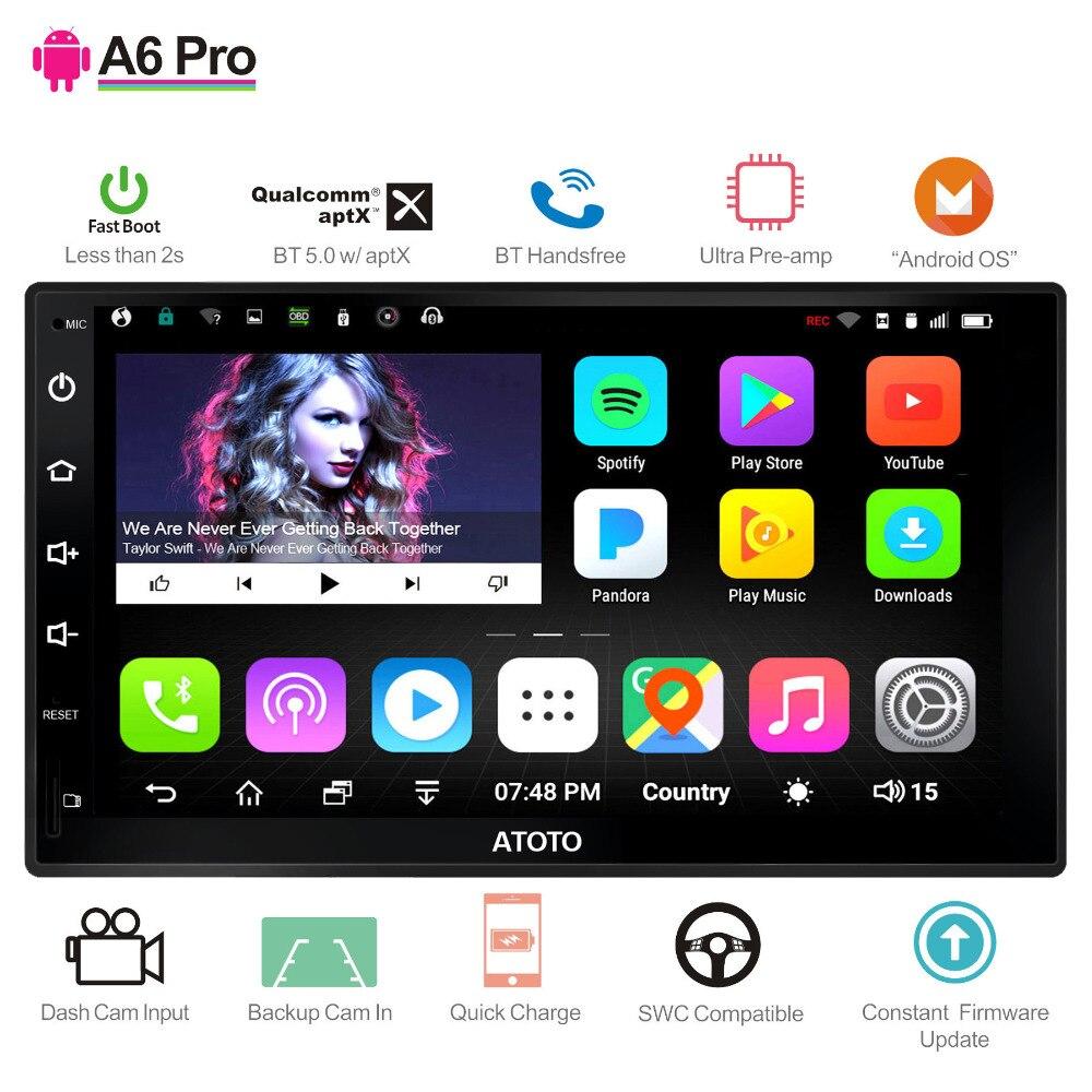 ATOTO A6 2Din Android coche GPS de navegación estéreo/2 * Bluetooth y aptX/Pro A6Y2721PR 2G + 32G/Ultra preamplificador/Indash Multimedia Radio/WiFi