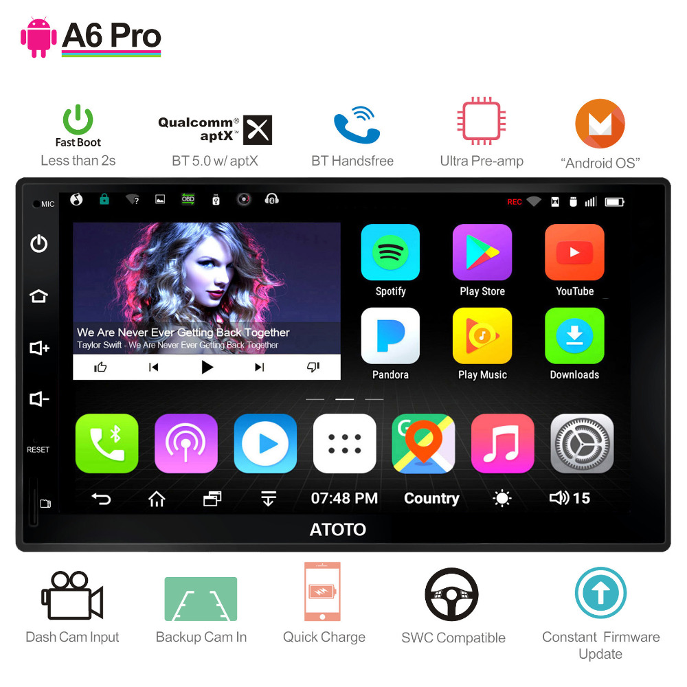 ATOTO A6 2Din font b Android b font Car GPS Navigation Stereo 2 Bluetooth aptX Pro