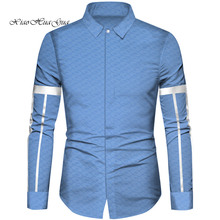 African Clothes Men Top Shirts Bazin Riche Cotton Print Patchwork Formal Traditional WYN832