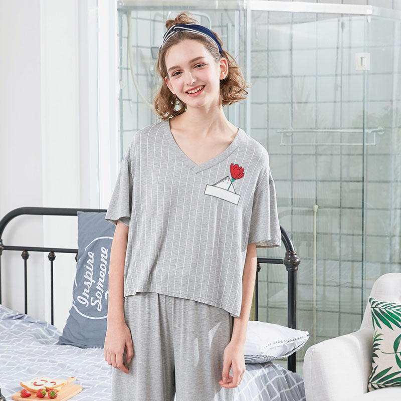 GRLBOBRA 2018 cute nightgowns two piece housedress women comfortable  sleepwear Gray short Sleeve T-shirt and trousers pajamas 891a68f67