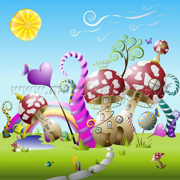Cartoon Fairy World Wall Stickers For Kids Playroom Y4 00492 Part 80