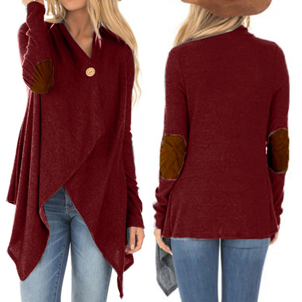 Women Autumn Cardigans Patches Long Sleeves Irregular Hem Button Female Coats  -MX8