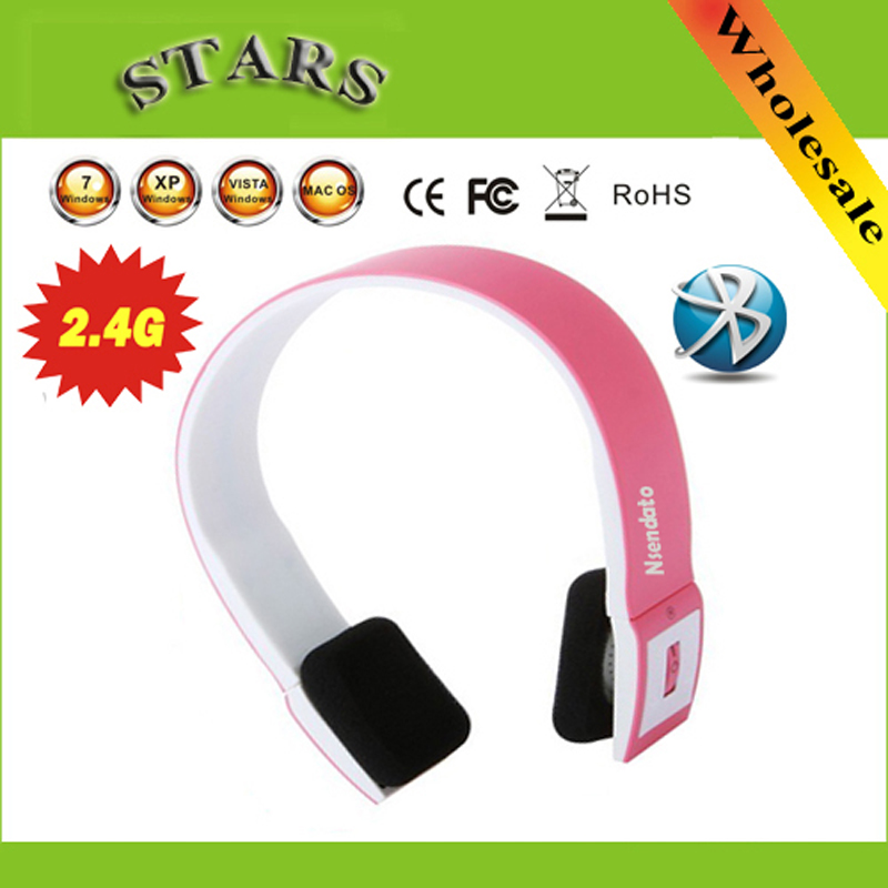 Wholesale Drop/Free Shipping 2.4G Wireless Bluetooth V3.0 EDR Headset Headphone with Mic for iPhone iPad Smartphone Tablet PC