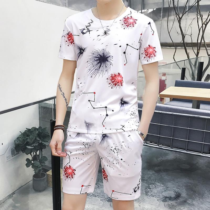 2018 mens short sets summer tracksuit men set clothing short sleeved t-shirt two piece Korean leisure ...
