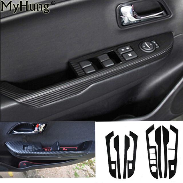 8pcs For KIA Rio K2 Car Carbon Fiber Stickers Door Panel Armrest ...