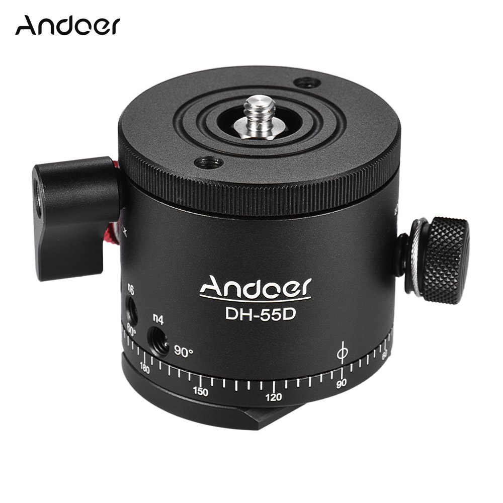 Andoer DH 55D Tripod Head HDR Panorama Panoramic Ball Head with Indexing Rotator Aluminum Alloy Max