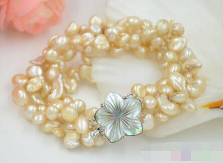 LIVRAISON GRATUITE >>>@@ 3733 4row jaune lamina BAROQUE KESHI REBORN PERLE bracelet