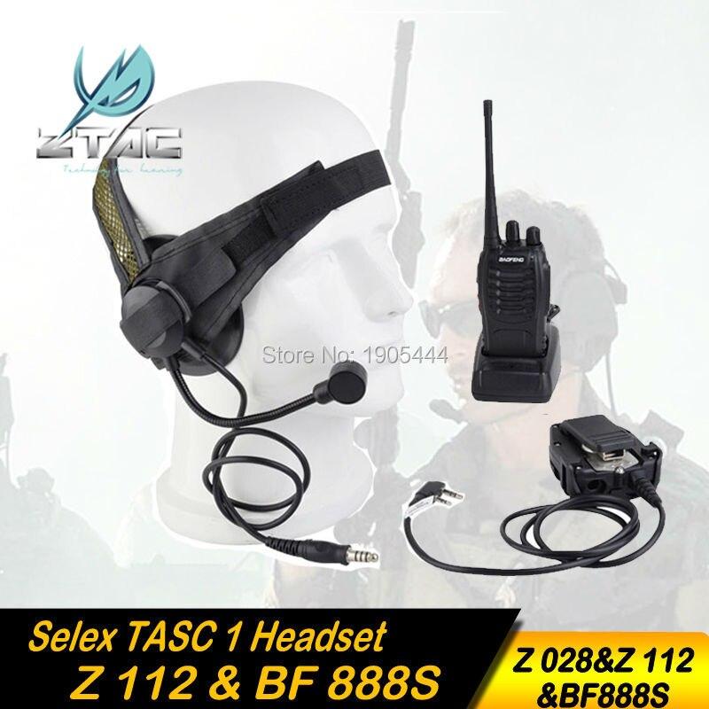 Z-TAC Z 028 Sluchátkový prvek Z-TAC Selex TASC1 Headset s vojenskou standardní zástrčkou Z-TAC PTT Kenwood Radio Baofeng BF-888s