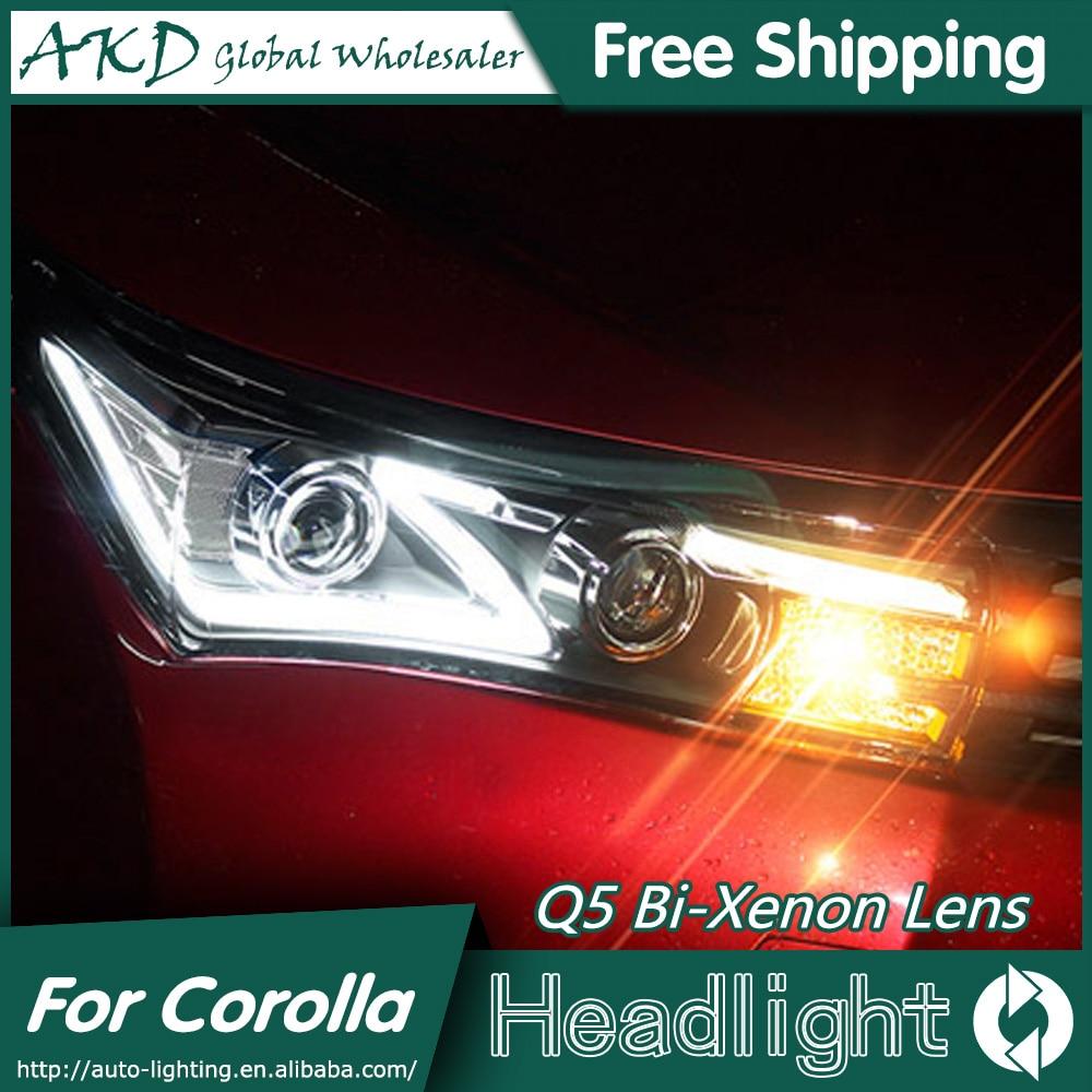 Akd car styling for toyota corolla headlights 2014 2015 altis led headlight drl bi xenon