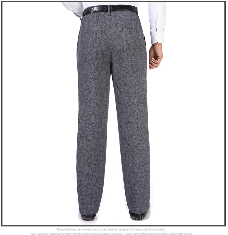 Summer Spring Man Linen Pant Dark Gray Business Casual Trouser Male Plus Size Elastic Band Waist Pantalones Homme Office Pant Plus Size (15)