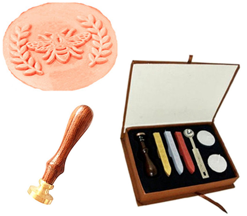 Vintage Bee Leaves Wreath Custom Wedding Invitation Wax Seal Sealing Stamp Rosewood Handle Sticks Melting Spoon gift Box Set Kit big copper spoon big large size stamp spoon vintage wooden handle brass spoon for sealing wax stamp wax stick spoon