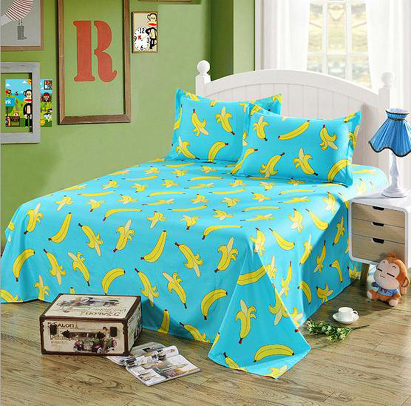 new 1pcs sheets banana lemon bed line flat sheet bedding twin full queen king size coverlid. Black Bedroom Furniture Sets. Home Design Ideas