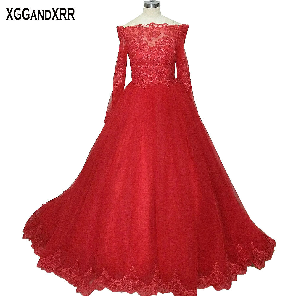 Gorgeous Boat Neck Long Sleeves Red Lace Ball Gown   Prom     Dress   2018 Lace Applique Formal Party Gowns Long Lace Evening   Dress